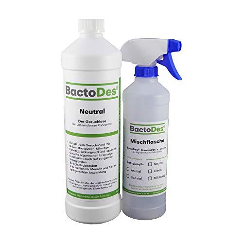 BactoDes Neutral 1l, Tiergeruch Geruchtsentferner Konzentrat inkl. Spray Mischflasche, Geruchsneutral - Teppich-reiniger Katzenurin Für