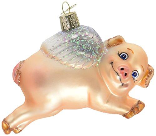 Old World Weihnachten fliegendes Schwein Glas geblasen Ornament - Kurt Adler Christmas Lights