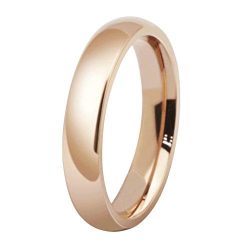 für Frauen 4MM Rose Gold Plated Plain Retro Ring Rosenring Größe L 1/2 ()