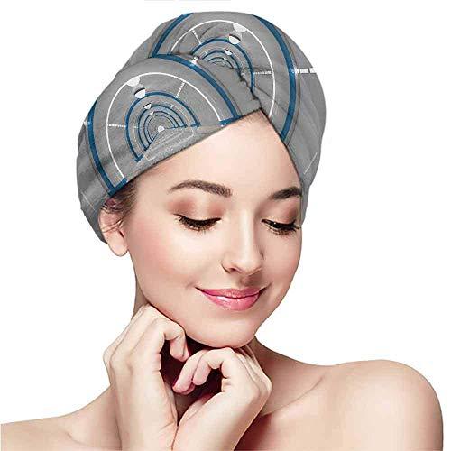 LCYYDECO Gemusterte Mütze für trockenes Haar, Weltraum, Galaxy Textured Spaceflight Animation, Flash Force Travel, statischer Bilddruck, Graublau