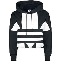 adidas Lrg Logo C-Hood Sweatshirt, Mujer, Black/White, 38
