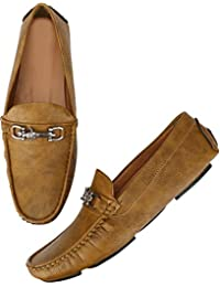 Walktoe Amore Tan Casual Faux Leather Loafers & Moccasins Shoes For Men / Boys