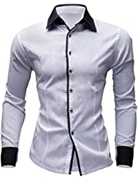 BUSIM Men's Long Sleeve Shirt Casual Solid Color British Business Slim Buttons Under Dress Lapel T-Shirt Tops...