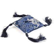 Berk KH-374-SB - Cojin con borlas para cuenco tibetano, aprox. 8-9 cm, color azul