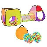 Henada Kinderzelt Spielhaus 3-Teiliges Spielzelt mit Tunnel 200 Bälle Bällebad Pop Up tragbares Pop-UP Kinderspielzelt mit Tragetasche Spielhaus für innen und außen Gelb-Orange