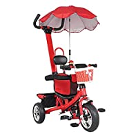 Wido Kids Red Trike With Parasol 12 Months To 6 Years With Parent Handle Safety Guard Sun Canopy Baskets