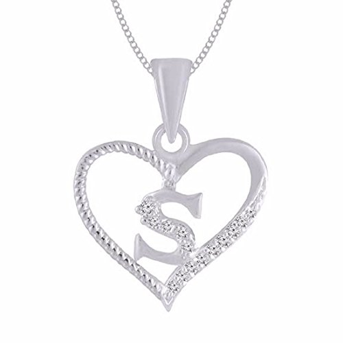 "Kanak Jewels Diamond Studded Initial Letter ""S"" In Heart Shaped Pendant Gifts For Everyone"