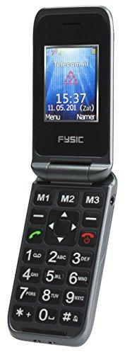 Schnurloses Telefon Notfall (Fysic FM-9250 Klappmobiltelefon mit extra großen Tasten, SOS-/Notfall-Taste, Sprachsteuerung, einfache Bedienung, Ideal für Senioren geeignet - mit Ladestation)