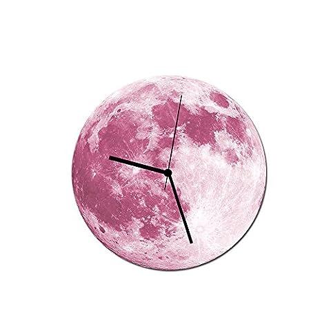 YU-K 30 Cm Kreative hell leuchtenden Mond Wanduhr Wanduhr Wanduhr Acryl wasserdichte Wanduhr Pink Moon