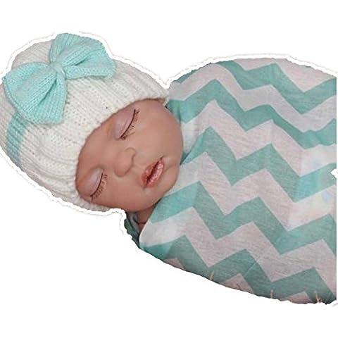 ZARU Del muchacho del bebé que hace punto infantil del niño de lana ganchillo del casquillo del sombrero suave (Azul claro)