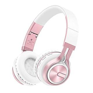 Bluetooth Kopfhörer,SUAVER Wireless Stereo Headset,faltbarer drahtlose Kopfhörer Ohrhörer Musik Bass Kopfhörer mit Mikrofon/FM/TF Card/AUX für iPhone/Smartphone/PC/Laptop/Tablet (Schwarzes/Gold)