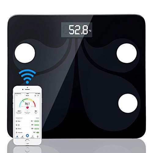 sumuya Báscula de Baño Digital Alta Medición Precisa180 kg/400 lbs, Balanza Digital Baño, Báscula Electrónica, Medidora Composición Bluetooth para Móviles Andriod y iOS, Analizar Más Funciones.
