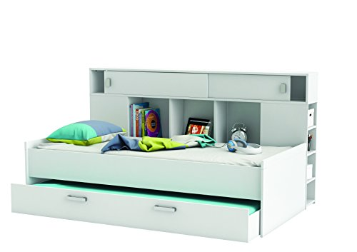 Demeyere 407011 Bettüberbau, Bett mit Bettkasten 90 x 200 cm SHERWOOD, weiß thumbnail