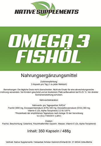 350 Kapseln Omega 3 Fischöl, 1000mg pro Softgelkapsel, mit EPA + DHA + Vitamin E – 100% Geld zurück Garantie, Unterstützend beim Muskelaufbau und zur Fettverbrennung