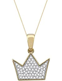 Pave Prive 9ct Yellow Gold with White Diamonds Crown Necklace of 45cm