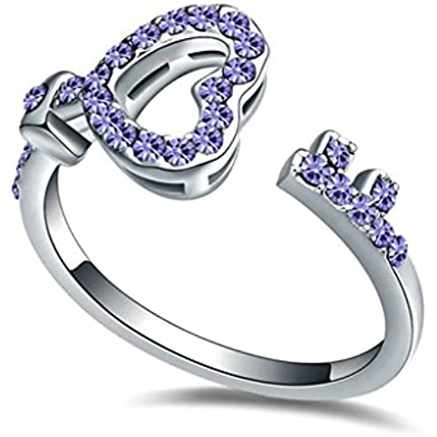 AieniD Anelli Donna Matrimonio Placcato Oro Chiave Cuore Zirconia Cubica Fidanzamento Anelli per Donne