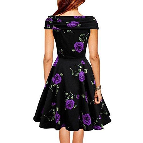 ROPALIA Rétro Vintage 1950's Style Audrey Hepburn Robe de Soirée Cocktail, Robe de Bal années 50 Rockabilly Swing. Fleur Violet