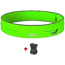 FLIPBELT(TM) Cinto Tubular + UP®-Paño funcional (Running Viajes Recreativos Senderismo Ciclismo Gimnasio Viajando Mosquetón), Color:Neon Green;FlipBelt Tamaño:S