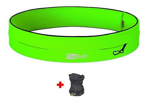 FLIPBELT(TM) Cintura Tubolare + UP®-Panno Multifunzionale (Running Viaggi Ricreativi Trekking Ciclismo Palestra Fitness Viaggiare Carabiner), (Neon Viaggi Cintura)