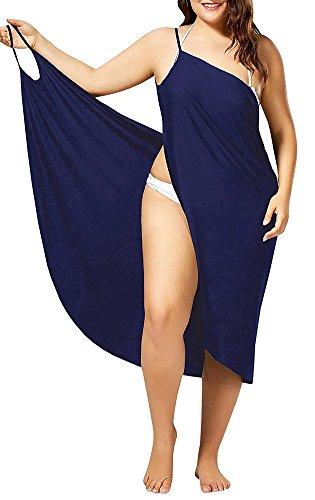 Damen Bikini Cover Up Sommer Tief V Ausschnitt Rückenfrei Strandkleid Wickelkleid Blue 5XL