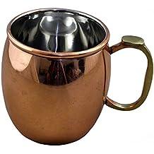 RoyaltyRoute Sólido Moscú mula cobre taza vidrio interior acero inoxidable drinkware barril taza 550 ml, juego de 2