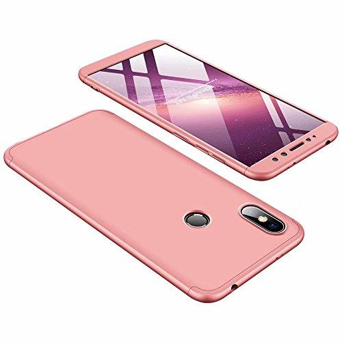 DESCHE Funda Xiaomi Redmi S2 Oro Rosa PC Duro 360 Grados Cuerpo Completo Cubierta Protectora Ultrafino Anti-rasguños Parachoque Mate Phone Case 3 in 1 Oro Rosa