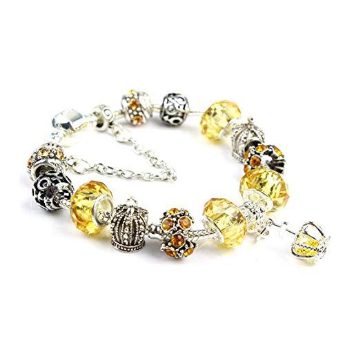 Zuiaidess Armbänder Für Damen,Persönlichkeit Krone Anhänger DIY Gelb Perlen Krone Perlen Schmuck Mode Persönlichkeit Armband Für Mädchen Dame Vielseitig Armbänder, 18 cm - Chakra-anhänger Gelbe