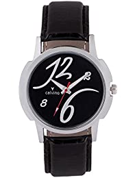 Calvino Analog Black Dial Sweat Proof Watch For Men / Boys Black Strap