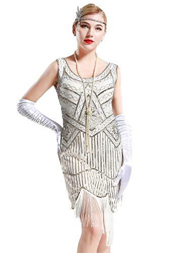 BABEYOND Retro 1920s Stil Damen Kleid Karneval Flapper Kleid V Ausschnitt Troddel Gatsby Mottoparty Damen Kostüm Kleid (Weiß, Etikette L/ UK16/ - Schwarz Und Weißen Pailletten Flapper Kostüm