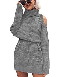 01a456de587 ORANDESIGNE Robe Pull Femme Chic Casual Mode Vintage A Manche Longues Col  Haut Sexy Pull Dress Mini Tricot Robe Pullover Blouse…