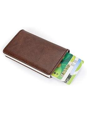 sciuU Cartera Tarjeta de Crédito, Bloqueo RFID, Cartera de Aleación de Aluminio Multiuso Bolsillos, Cuero PU Exterior...