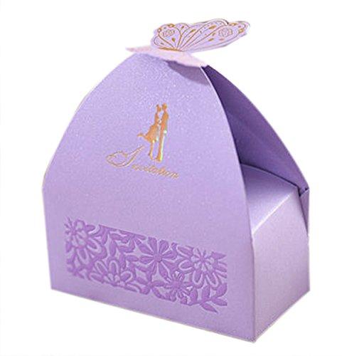 -Dusche Dekorationen Hochzeitsfestbevorzugung Boxen Schmetterling Pralinenschachtel 10 Stück personifizierte (Bonbons oder Pralinen nicht enthalten) ()