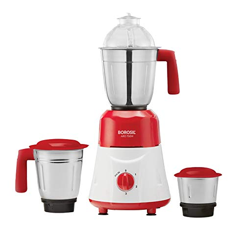 Borosil ARO(750 Watts) Mixer Grinder with 3 Stainless Steel Jar, Red