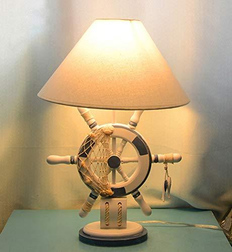 Blau Weiß Nautischen Stil Ruder Holz Schreibtisch Lampen Befestigung Tuch Lampenschirm Kreative Schiff Harz Tischlampe E27 LED Cartoon Licht -
