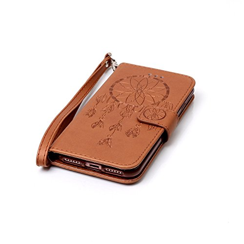 Custodia per Apple iPhone 7, ISAKEN iPhone 7 Flip Cover con Strap, Elegante Sbalzato Embossed Design in Pelle Sintetica Ecopelle PU Case Cover Protettiva Flip Portafoglio Case Cover Protezione Caso co deamcatcher:marrone