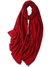 Prettystern - Damen XL size lang voluminös 100% Wolle einfarbig Twill pashmina stola kurze Fransen