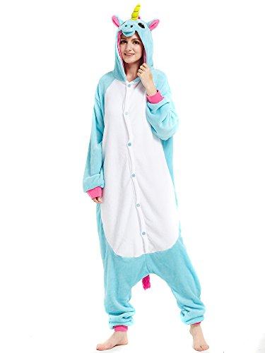Kigurumi Blau Einhorn Pyjamas Kostüm Jumpsuit Tier Schlafanzug Erwachsene Unicorn Fasching Cosplay Onesie M