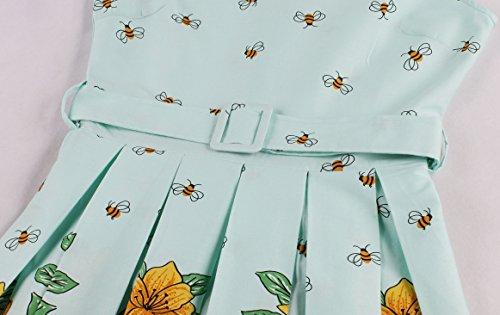 VKStar® Damen 50s Vintage Retro Rockabilly kleid Blumen Kleid Sommerkleid Cocktailkleid Swing Kleid Hellblau L - 4