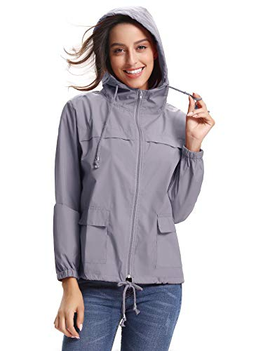 Abollria Damen Regenjacke Wasserdicht Kurze Hoodie Jacke für Herbst Leichte Windjacke Fahrrad mit Kapuze