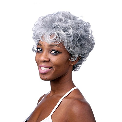 A.Monamour Argent Cheveux Courts Résistant À La Chaleur De Fibre Synthétique Haute Pleine Perruque Frisée Gris Pour Les Femmes