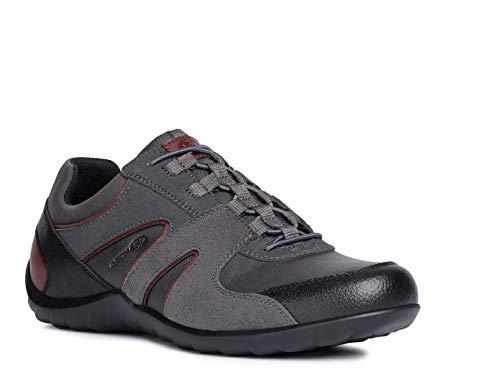 Geox Herren Slip-On Sneaker Pavel, Männer Sneaker,Halbschuh,Sportschuh,Slipper,Gummizug,atmungsaktiv,GRAU,46 EU / 11 UK - System Pl-licht