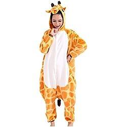 Kenmont Unisexo Adulto Unicornio Cartoon Animal Novedad Navidad Pijama Cosplay Disfraces Capucha Invierno Franela (Size S for 148-160CM, Jirafa)
