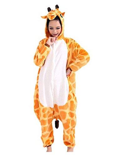Kenmont Erwachsene Damen Pyjama Cosplay Nachtwäsche Plüsch Tier Kostüm Einhorn Panda Hai (Size S for 148-160CM, Giraffe)