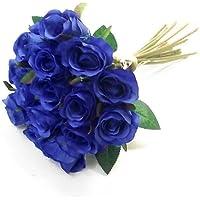 25cm Artificial Royal azul Mini rosa Rosebud, con 15flores)/tallos–hogar boda
