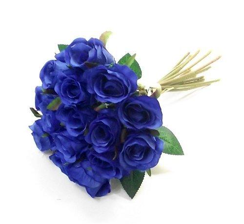 Rose artificiali da 25cm,colore blu reale, mazzolino di boccioli con 15teste di fiore e gambi, per matrimoni in casa.