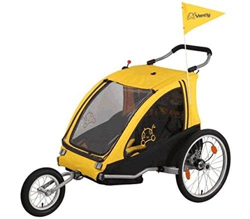 Blue Bird Fahrrad Kinder Anhänger Sport Zweisitzer gefedert gelb