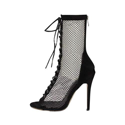 B-commerce Frauen Elegant Mesh Stiefel Sexy Reißverschluss Party Peep Toe Sommer Freizeitschuhe Damen Wild High Heels Sandalen -