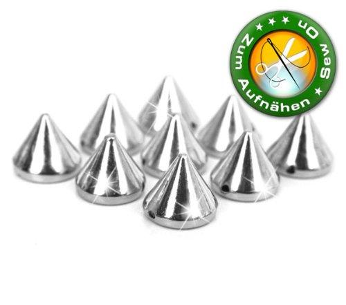 100 Stück Killernieten/Punkspikes, 6 mm hoch, Silber, zum Aufnähen / Aufkleben