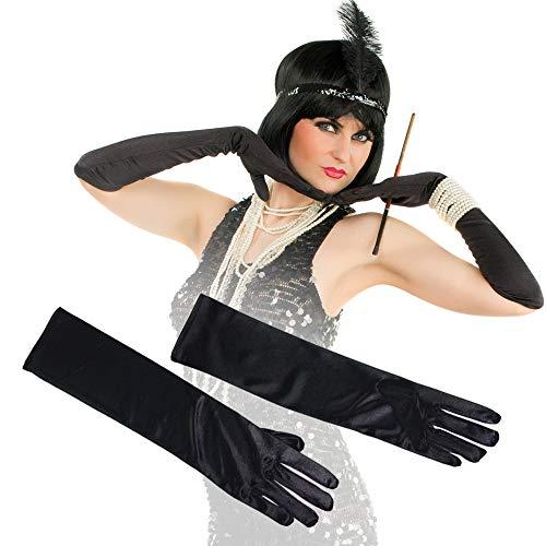German Trendseller® 1 x Damen Satin - Handschuhe Lang - Deluxe ┃ Abendhandschuhe Schwarz ┃ Accessoire für Party + Feierlichkeit ┃ 1 Paar