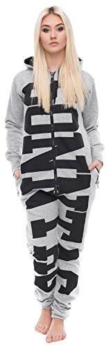 Loomiloo® Jumpsuit Freizeitanzug Overall Hausanzug Einteiler Strampler Anzug Pyjama Sonntag Hellgrau XL